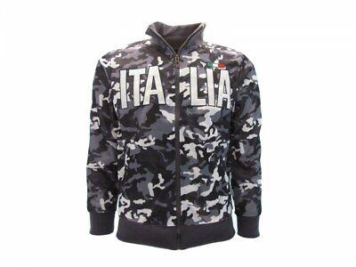 Creativo Felpa Italia Camo Vegetata Camouflage Stemma Italia Zip Fino A Xxxl
