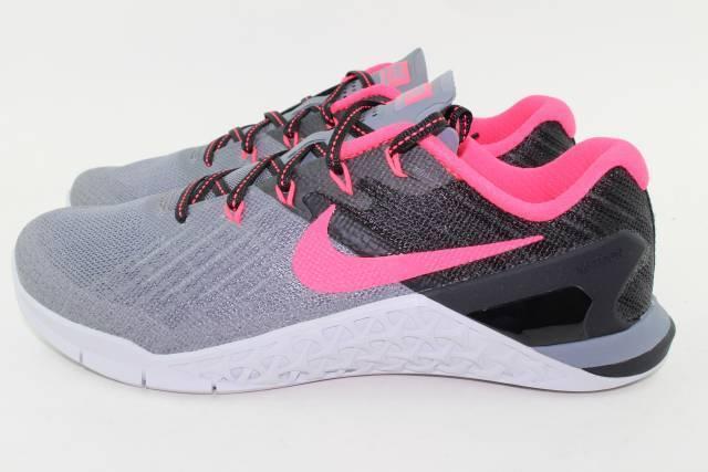 Nike metcon 3 donna taglia nuovo grigio rosso flywire solare)