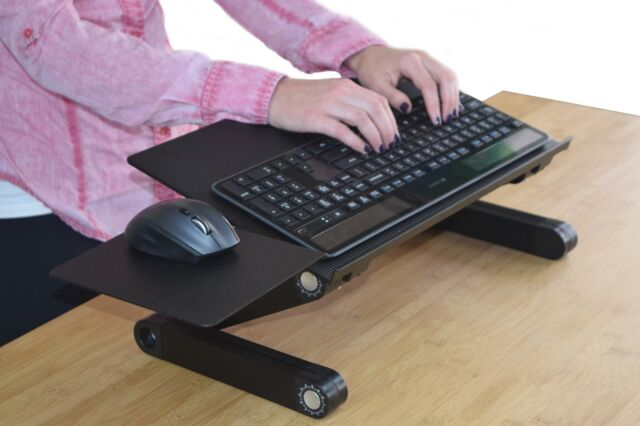 Adjule Height Tilt Angle Sit Stand Up Computer Keyboard Riser Tray On Desk