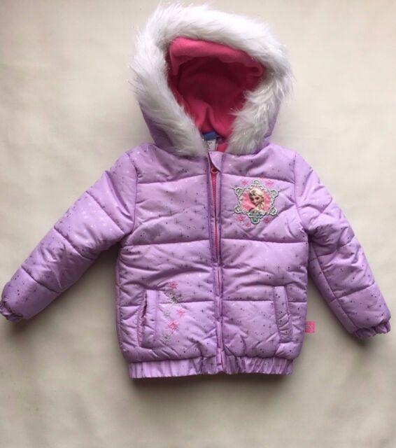 f4ad72cd5b80 New TODDLER Girls 2T Disney ANNA & ELSA Frozen COAT Puffer JACKET Purple
