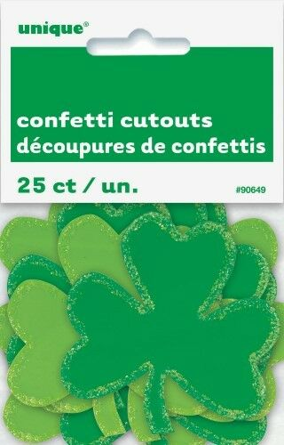 """SHAMROCK 25 GLITTER CONFETTI CUTOUTS 7CM/2"""" ST PATRICK'S DAY DECORATIONS IRISH"""