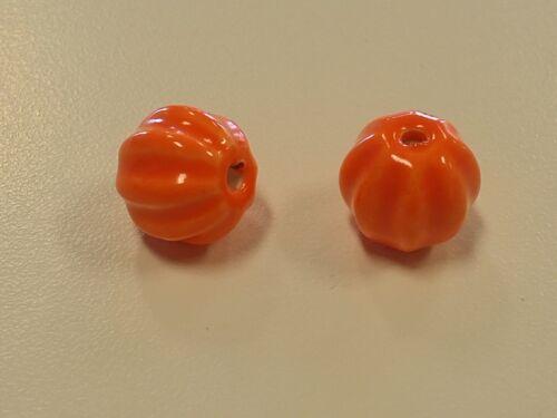 Hole 2mm Jewelry Making Handmade Bright Glazed Porcelain Pumpkin Beads,13x12mm