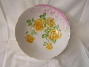 "Constructive Vintage Handpainted Serving Bowl 10"" Diameter X 2 1/4"" Height Germany Vgc Antiques"