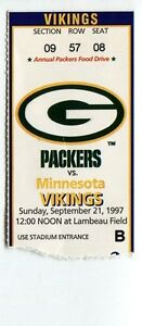 Football Ticket Green Bay Packers 1997 9 21 Vikings Brett Favre ... 867a4fd10