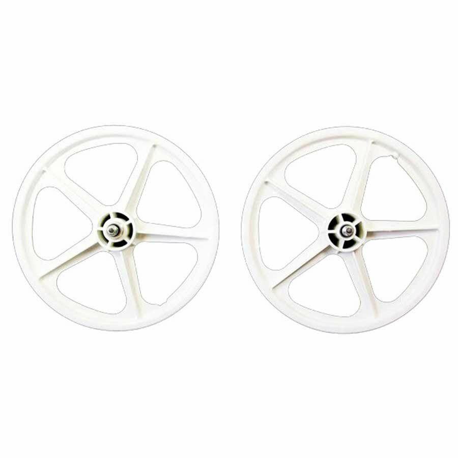 Skyway Tuff II 16  BMX Bike Wheelset 5 Spoke Bolt 16 x 1.75 White 3 8  Freewheel