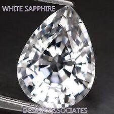 NATURAL WHITE SAPPHIRE 10x7 MM PEAR CUT DIAMOND COLOR