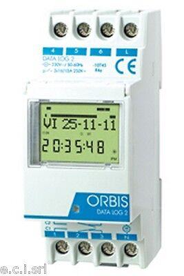 OB175012 Orbis Interruttore Orario Din DIGITALE DATA LOG2