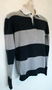 MENS-FAT-FACE-JUMPER-SZ-S-VGC-NAVY-GREY-STRIPED-COLLAR-WOOL-CONT