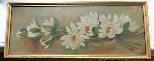 BIG-ANTIQUE-OIL-PAINTING-STILL-LIFE-FLORAL-VICTORIAN-COUNTRY-FOLK-ART-PRIMITIVE