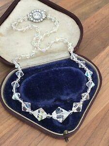 17-5-034-Vintage-1950s-Aurora-Borealis-Faceted-Glass-Single-Strand-Necklace-4