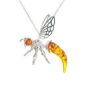 Large Amber Bee Necklace Silver Bee Pendant Bumblebee Natural Amber Honeybee