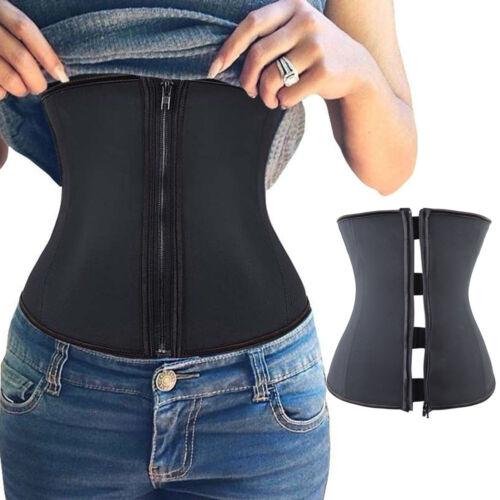 Womens Latex Rubber Waist Cincher Shapewear Girdle Corset Slim Belt Body Gym zm