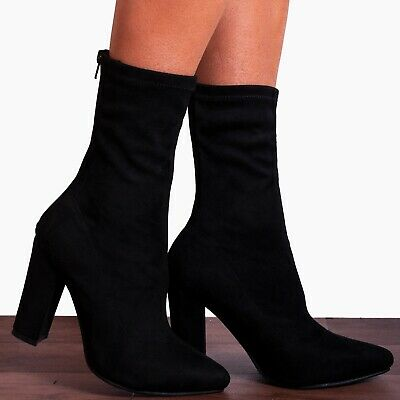 WunderschöNen Black Sock Pull On Stretch Ankle High Block Heeled Boots Shoes Size 3 4 5 6 7