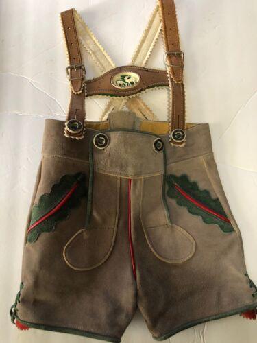 Vtg German Lederhosen Suede Leather Breeches Elk C