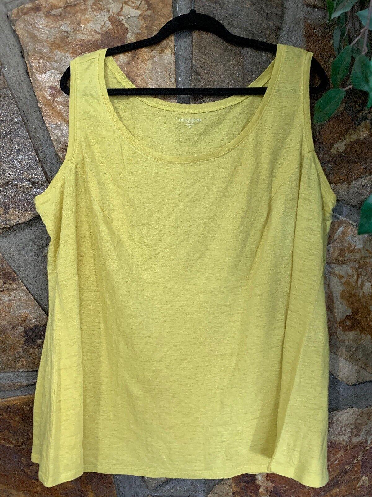 Eileen Fisher Woman 100% Linen Yellow Sleevess Tank Top Size 3X (E2)