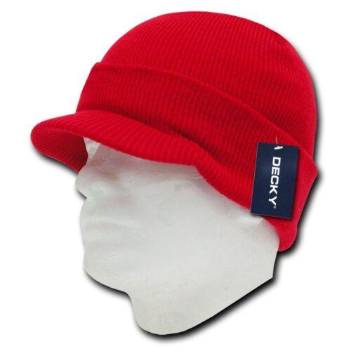 Decky Visor Beanie Cuffed Knit Jeep Caps Hats Ski Skull Red Royal Sky Unisex