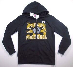 big sale aee1c f6ae6 NFL Pittsburgh Steelers Women's Black Distressed Retro Full ...