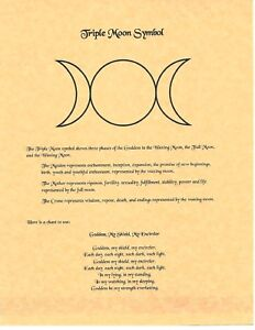 Details about Book of Shadows Spell Pages ** Triple Moon Symbol ** Wicca  Witchcraft BOS