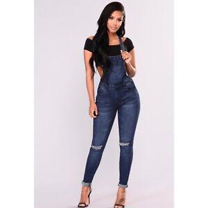 4b0262a1740 Image is loading Fashion-Nova-Denim-Jeans-Jumpsuit-Overalls-American-Bazi-