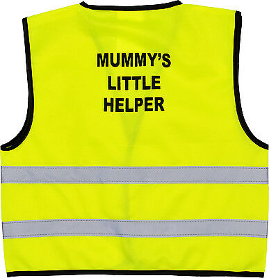 Bambini Gilet Alta Visibilità Hi Vis Gilet Mummy's Little Helper Print Sul Retro- Completa In Specifiche