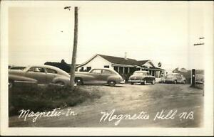 Magnetic-Hill-New-Brunswick-Old-Cars-at-Restaurant-Real-Photo-Postcard