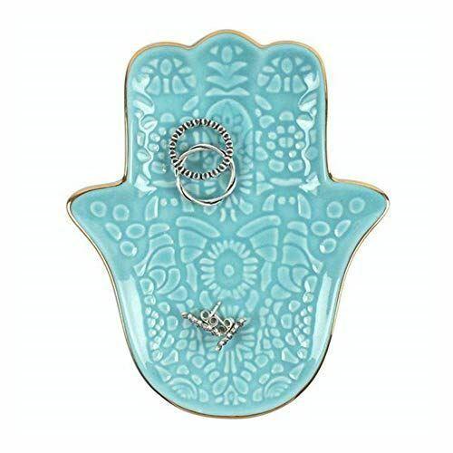 Mano de Hamsa fútbol Turquesa Joyería Plato de cerámica 11.5x13.5x1.5cm