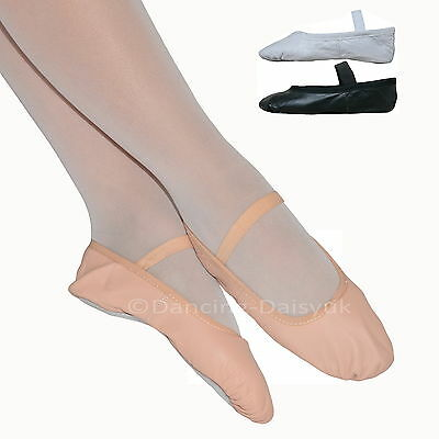 CLEARANCE Boys or Girls LEATHER BALLET SHOES Pre-sewn Elastics Pink Black White