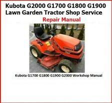 Kubota G2000 G1700 G1800 G1900 Lawn Garden Tractor Shop Service Repair Manual