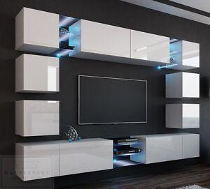 wohnwand edge 270cm wei hochglanz led orion h ngewand concept project mediawand ebay. Black Bedroom Furniture Sets. Home Design Ideas