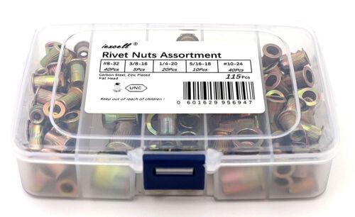 115 Pcs Nut Rivet Threaded Riveter Hand Riveting Insert Tool Kit Rivnut Nutsert