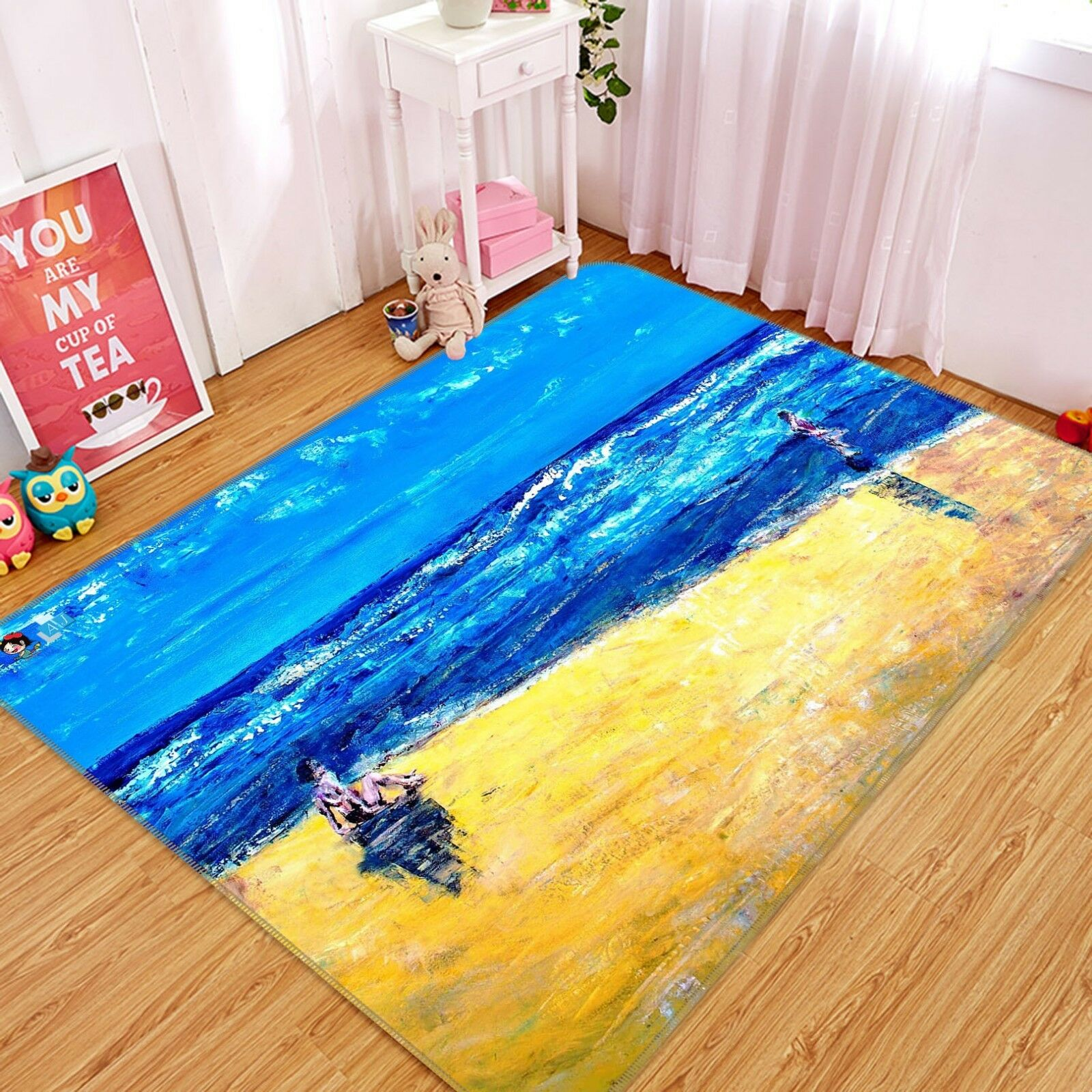 3D blu Sea Paint 288 Non Slip Rug Mat Quality Elegant Photo Carpet US Cobb