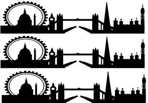 Image Is Loading London Skyline Silhouette Cake Topper 2 A4 Edible
