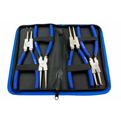 """US Pro by BERGEN Tools 4pc 9"""" Ni-fe Finish Circlip Pliers Set In Zip Case 1822"""