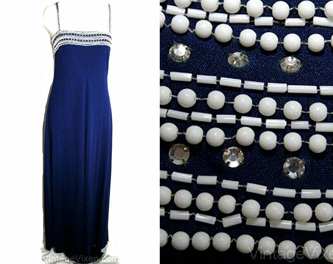 Size 4 Formal Dress - Navy Beaded Jersey 1970s Evening Gown & Overlay - Small