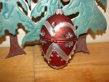 Red Christmas hinged egg ornament vintage xmas holiday decorations collectibles