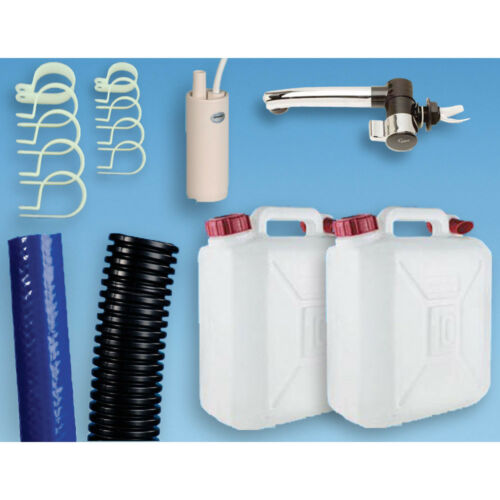 Plumbing Kit for Campervan Sink,Tap /& Pump /& 10L Water Containers Suit Smev