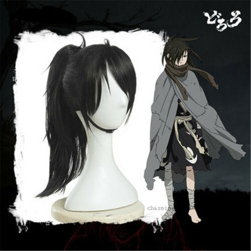 Anime DORORO Language Hyakkimaru Cosplay Perruque Femmes Hommes Noir Queue de Cheval Clip cheveux bouchon Daily