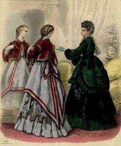 le-Caprice-Dans-le-Miroir-Gravure-de-mode-ancienne-XIXe-siecle