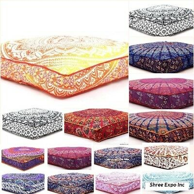 Bohemian Large Square Floor Pillow Pouf Cushion Cover 15 Pc