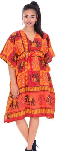 Indian 100/% Cotton Woman Girl Caftan yellow color Top Tunic Floral print