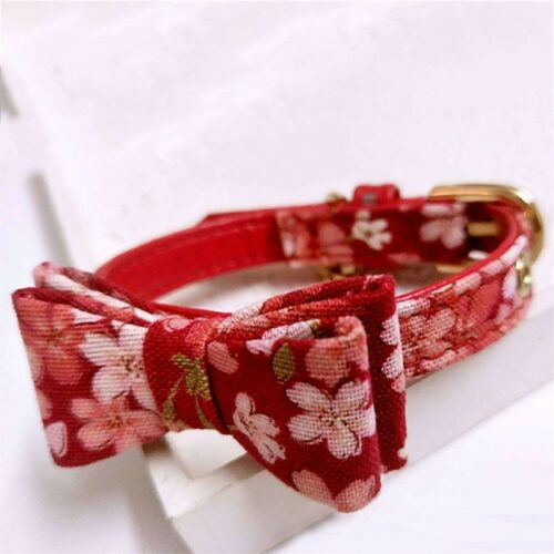 Adjustable Small Pet Dog Bow Collar Puppy Cat Buckle Neck Strap Bell 17 Styles