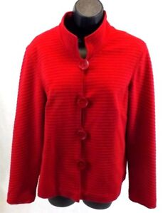 COLDWATER-CREEK-Women-039-s-Blazer-Size-M-RED-Jacket-Coat-Knit-Cotton-Spandex