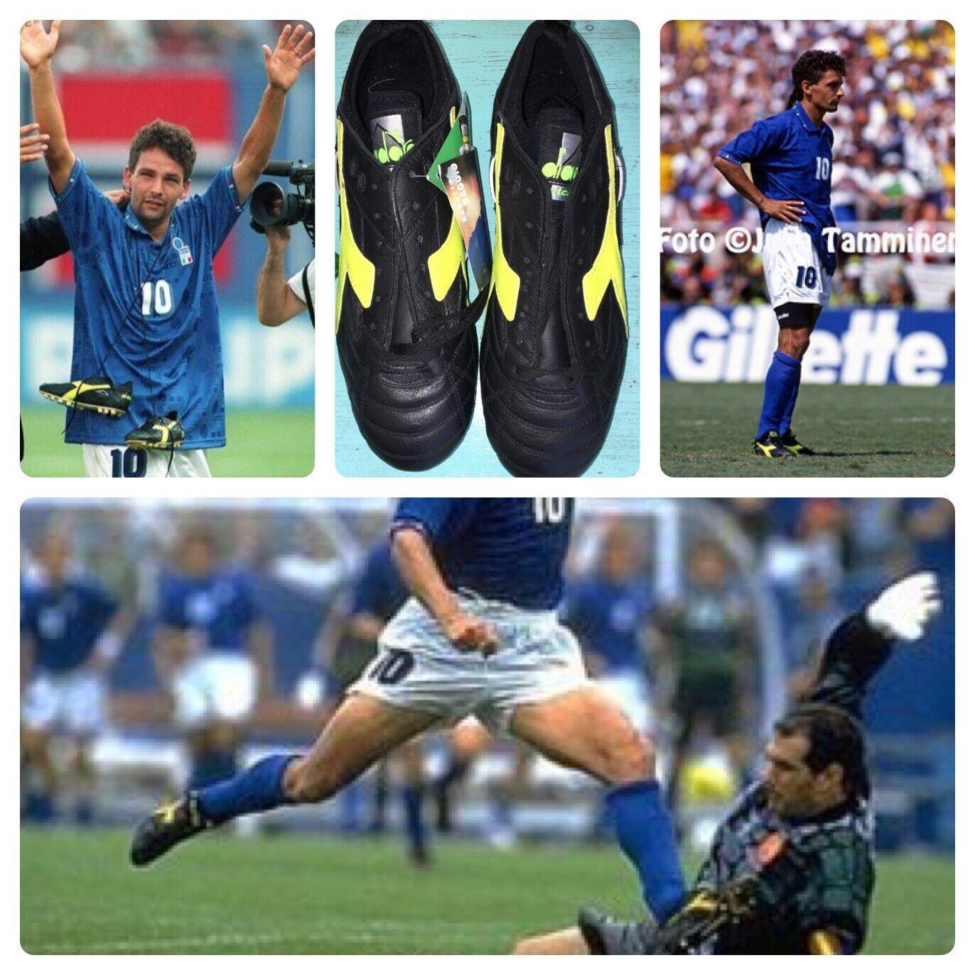 Diadora De Colección Baggio ganador del partido Sg Hecho en Italia Botines De Fútbol Zapatos 7.5
