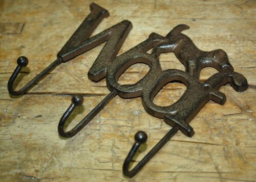 Hat Hook Cast Iron DOG WOOF Towel Coat Hooks Key Rack GARDEN PUPPY