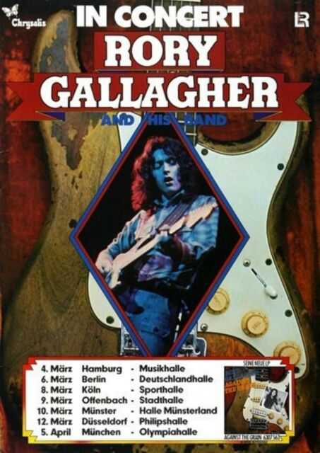 Rory Gallagher Against The Grain 1975 concert poster repro..