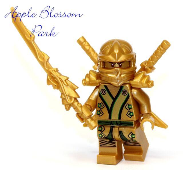 NEW Lego Ninjago Green /& GOLD NINJA MINIFIG Lloyd Minifigure Dragon Swords 70505