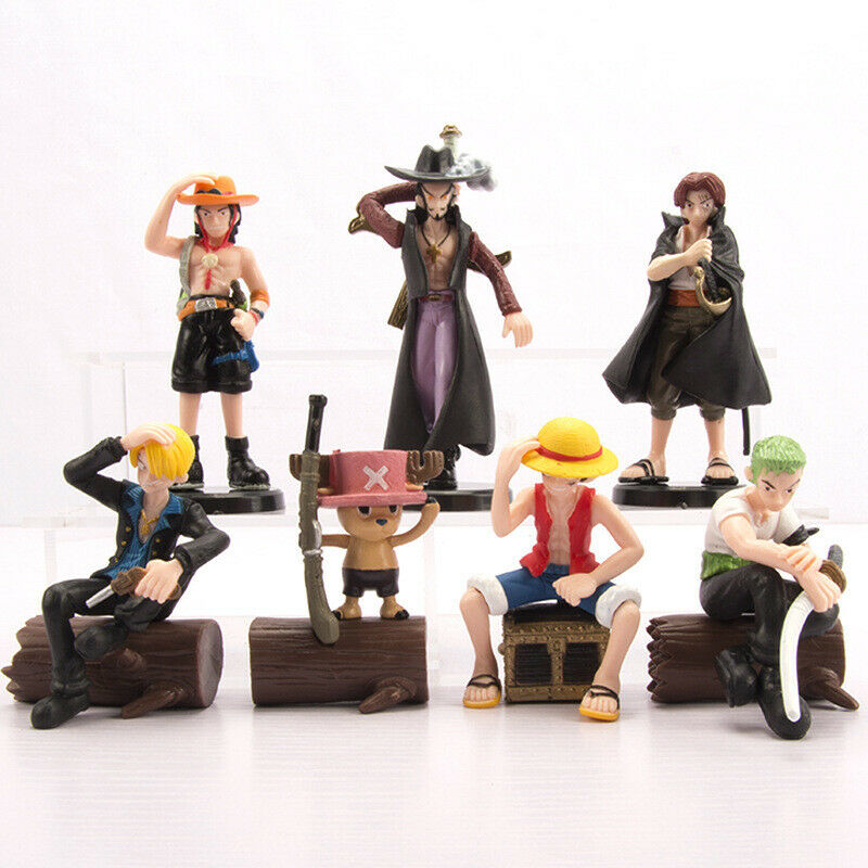 7 pcs One Piece Pirates Figures Set Cake Topper Luffy Chopper Sanji Zoro Usopp