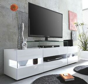 tv tisch lowboard weiss glanz 170 cm tv hifi m bel fernsehtisch board 65 sonic ebay. Black Bedroom Furniture Sets. Home Design Ideas