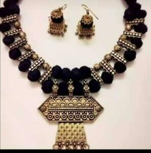 Indian-Ethnic-Oxidized-Choker-Indian-Jewelry-Necklace-amp-Earrings