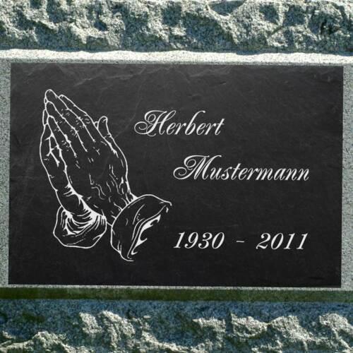 Grabstein Grabplatte Gedenktafel Hände zum Gebet ►Wunsch - Gravur◄ 30 x 20 cm